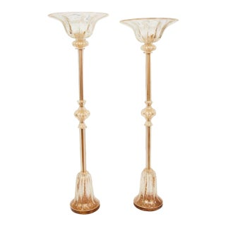 Vintage 1950s Barovier & Toso 'Cordonato D'Oro' Torchieres - a Pair For Sale