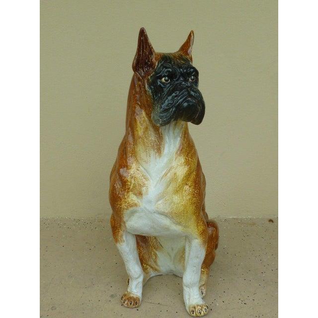 Ceramic 1970s Vintage Italian Boxer Dog Glazed Terra Cotta Model For Sale - Image 7 of 7