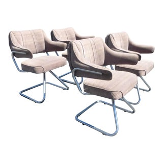 Four Vintage Mid Century Modern Chrome Arm Chairs by Howell Milo Baughman Style For Sale
