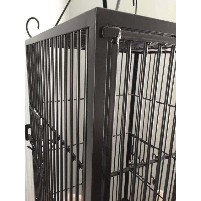 Vintage Restored Black Wrought Iron Birdcage For Sale - Image 5 of 5