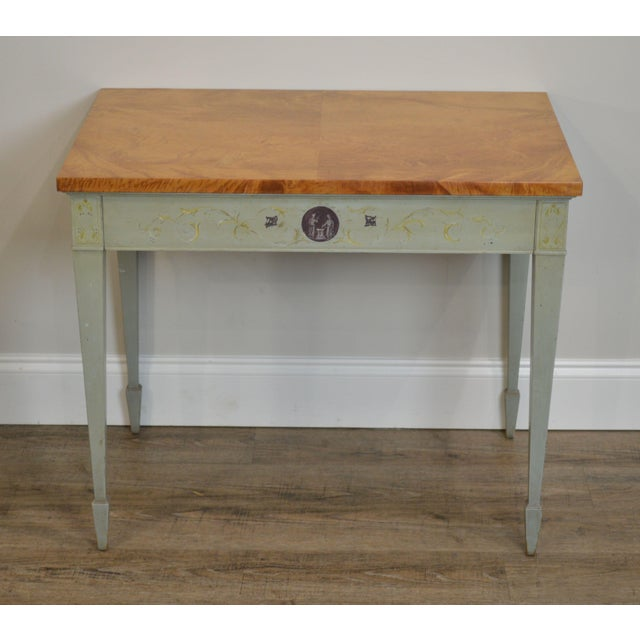 Arts & Crafts Schmieg & Kotzian Adams Hand Painted One Drawer Side Table For Sale - Image 3 of 12