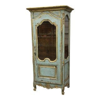 French Antique Louis XV Style Painted Display Cabinet Vitrine For Sale