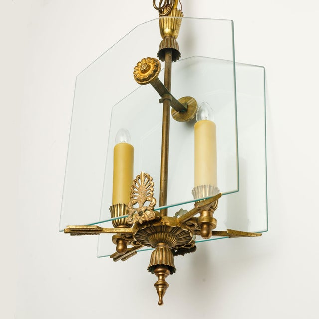 French Classic Brass and Glass Lantern For Sale - Image 12 of 12