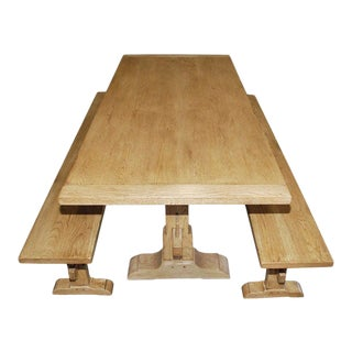 Oak Expandable Trestle Table and Benches - 3 Pieces For Sale