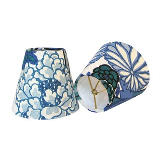 Chiang Mai Dragon China Blue Chandelier or Sconce Shades - A Pair