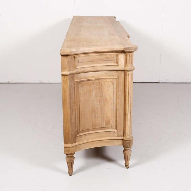 Antique French Louis XVI Style Bleached Walnut Enfilade Buffet For Sale - Image 11 of 13