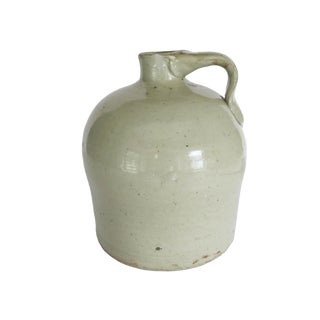 Antique Small White Whiskey Crock Stoneware Jug For Sale