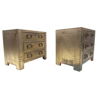 Pair of Brass Clad Three-Drawer Nightstands by Sarreid Ltd. For Sale