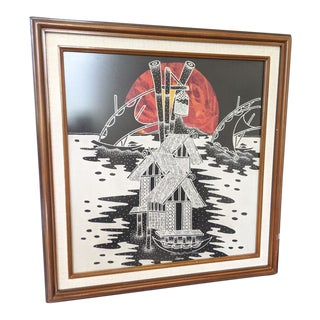 Japanese Fabric Wall Hanging Framed For Sale