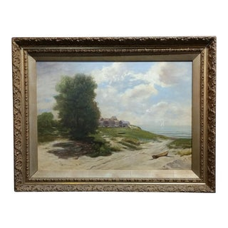 19th century Impressionist Seashore Landscape -Oil painting For Sale