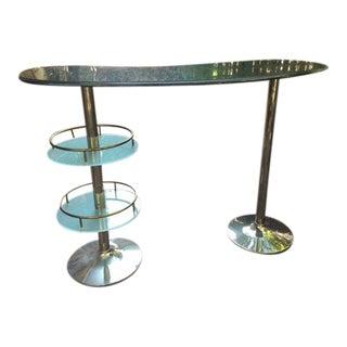 Custom Made Polished Nickel Finished Steel, Glass & Granite Wine Bar For Sale