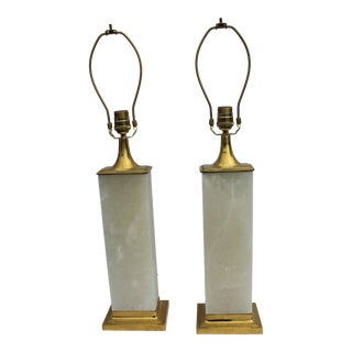Mid Century Modern Alabaster Stone Solid Brass Lamps - a Pair For Sale