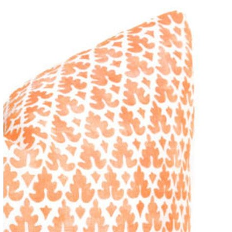 Beautiful pair of down-filled pillows. Fabric is Quadrille's Volpi in Orange. Size 20x20 Fabric is on both sides of...