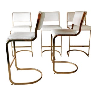 Vintage Cal-Style Gold Toned Cantilever Bar Stools - Set of 5 For Sale