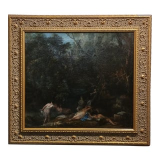 19th century Barbizon School -Women large party bathing in forest-Oil painting
