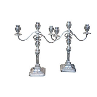 Antique English Georgian Rams Head Silverplate Candelabras - a Pair For Sale