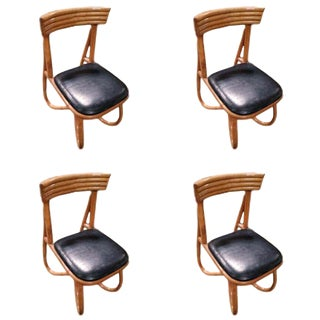 Restored Loop Leg Rattan Dining Side Chair, Set of Six, Circa 1950 For Sale