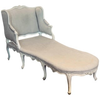 Late 18th or Early 19th Century Painted Louis XV Chaise Longue For Sale