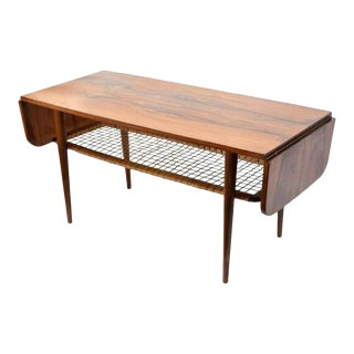1960s Danish Rosewood Mid Century Modern Double Leaf Coffee Table For Sale