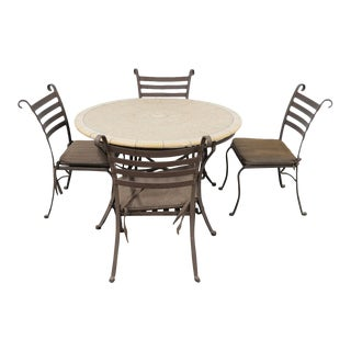Mosaic Outdoor Table + 4 Wrought Iron Chairs For Sale