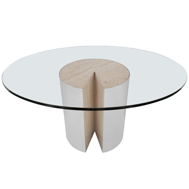 "Rare Leon Rosen ""Pie"" Travertine Chrome Dining Table for Pace - Image 1 of 10"