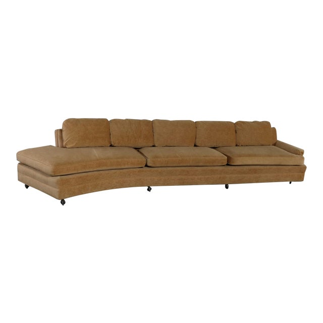Curved Arm Sofa Style Upholstered Sofa With Chaise Lounge