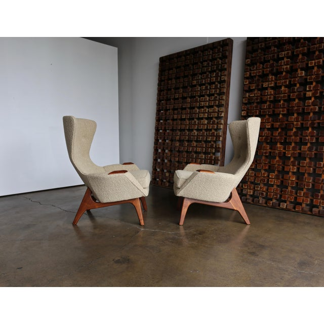 Mid-Century Modern Adrian Pearsall for Craft Associates Wing High Back Chairs - a Pair For Sale - Image 3 of 13