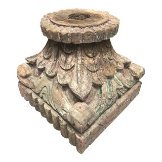 Antique Hand Carved Architectural Column Pedestal For Sale