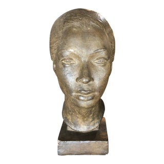 1940's French Plaster Sculpture of Woman
