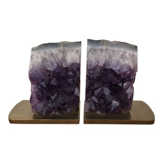 Vintage Gibson Amethyst and Brass Bookends - a Pair For Sale