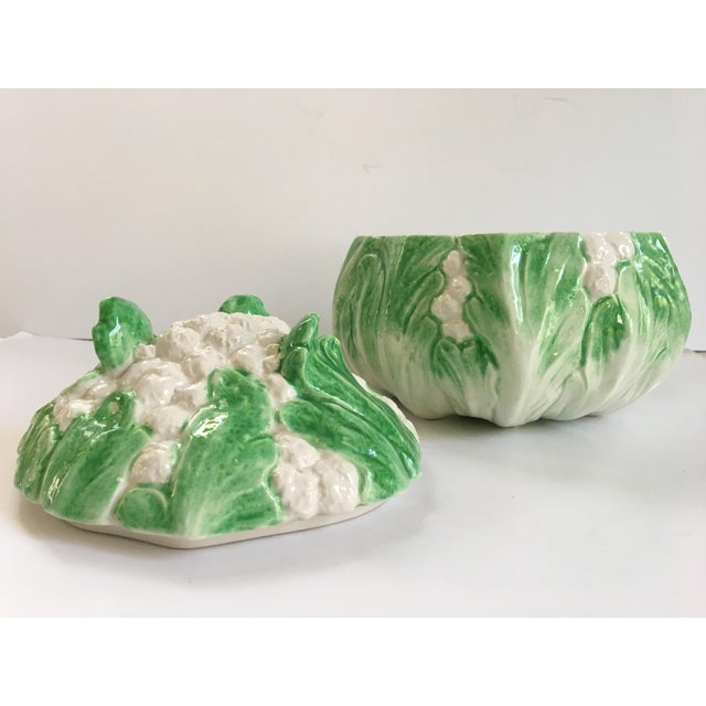 1980s Vintage Majolica Style Hand Painted Cauliflower Lidded Tureen For Sale - Image 5 of 11