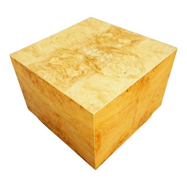 Milo Baughman Era Burled Cube Table - Image 1 of 7