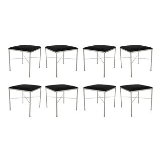 Eight X-Base Brass Stools by Thonet For Sale