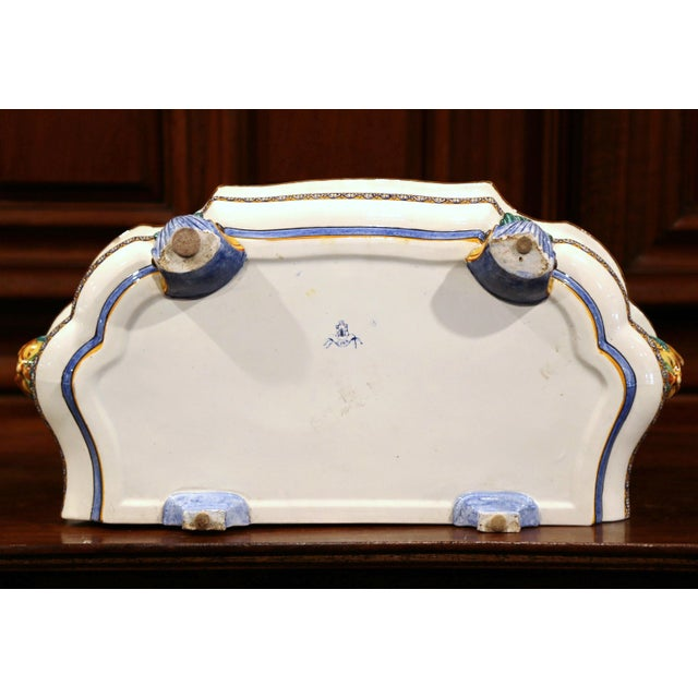 Large 19th Century French Louis XV Hand-Painted Faience Jardinière Signed Gien For Sale - Image 9 of 11