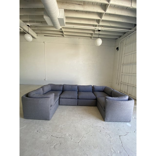 Textile Milo Baughman Scalloped Back Modular Sectional Sofas - A Pair For Sale - Image 7 of 10