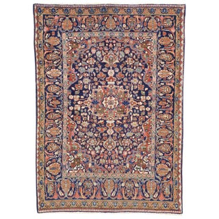 Vintage Mid-Century Distressed Persian Mahal Rug - 4′5″ × 6′2″ For Sale