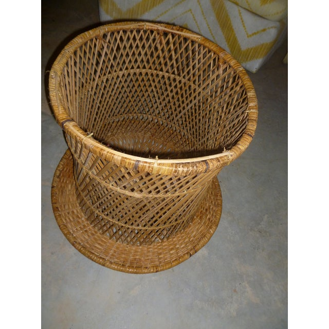 MCM Rattan Wicker Woven Round Side Table - Image 7 of 11
