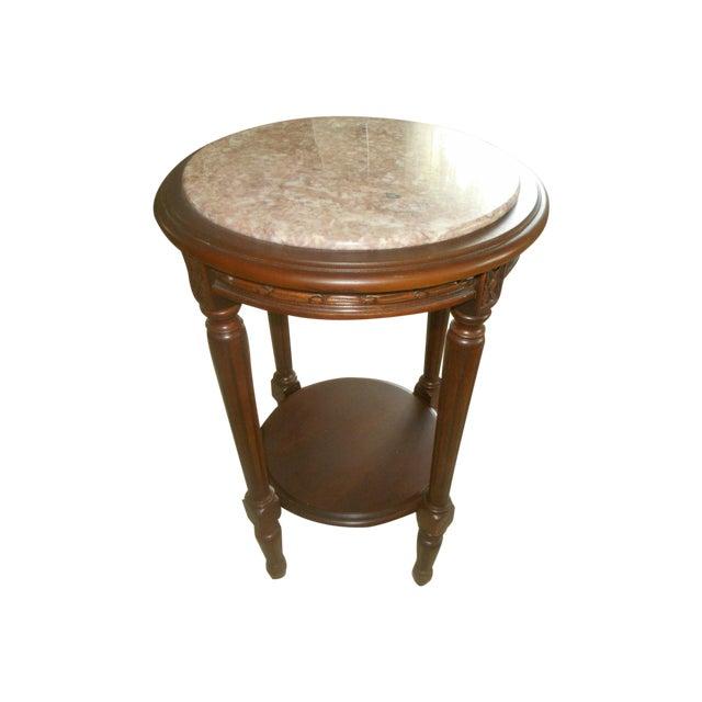 Vintage Rose Marble Top Pedestal Table - Image 1 of 5