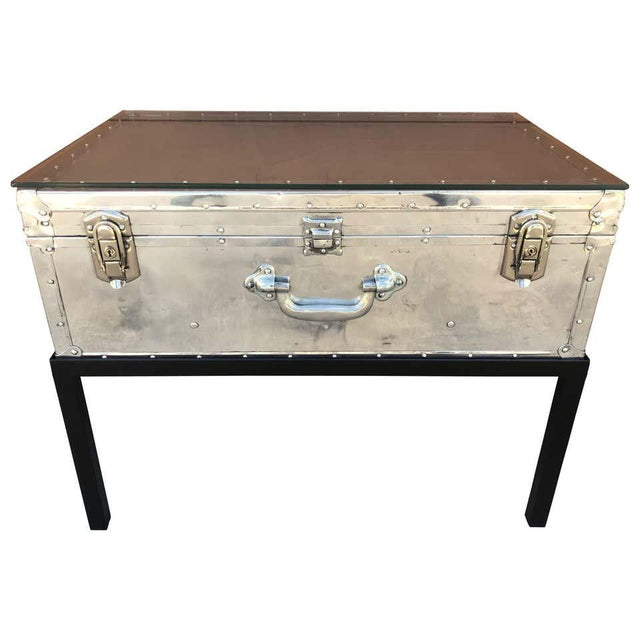 Japanese Post War Aluminum Riveted Trunk on Iron Stand With Glass Top, Restored For Sale - Image 12 of 12