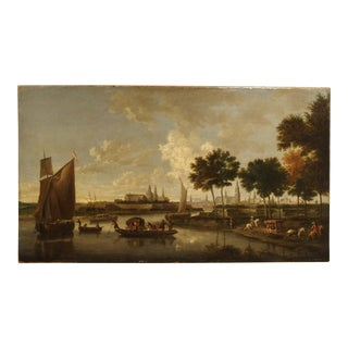 Antique Dutch River Scene Painting, Oil on Canvas Circa 1800 For Sale