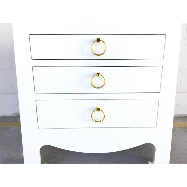 Contemporary Bungalow 5 Modern White Lacquer Finished Three Drawer Side Table For Sale - Image 3 of 7