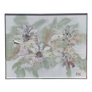 1970s Vintage Lee Reynolds Large Framed Floral Oil Painting For Sale