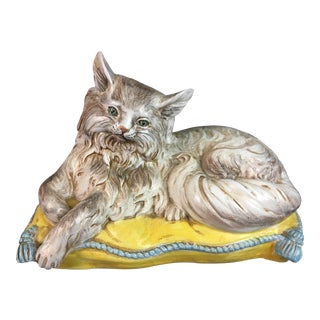 1960s Vintage Cat on Pillow For Sale