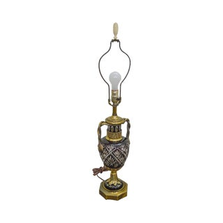 Bohemian Czech Ruby Red Crystal Cut to Clear Bronze Table Lamp