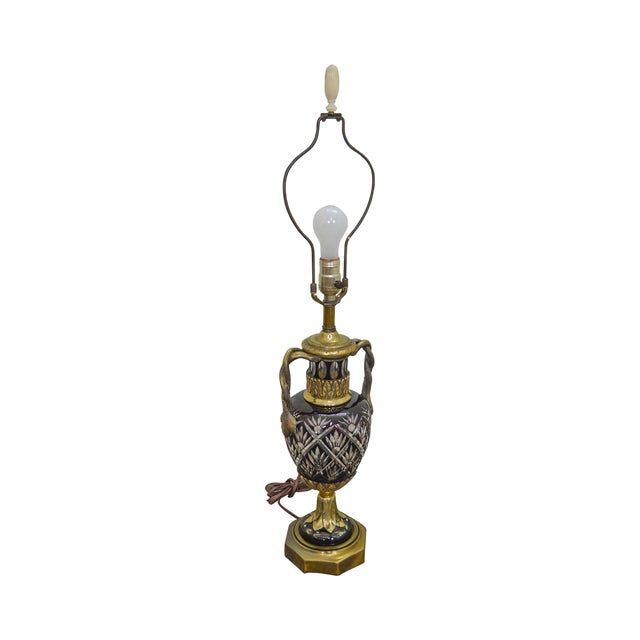 Bohemian Czech Ruby Red Crystal Cut to Clear Bronze Table Lamp For Sale