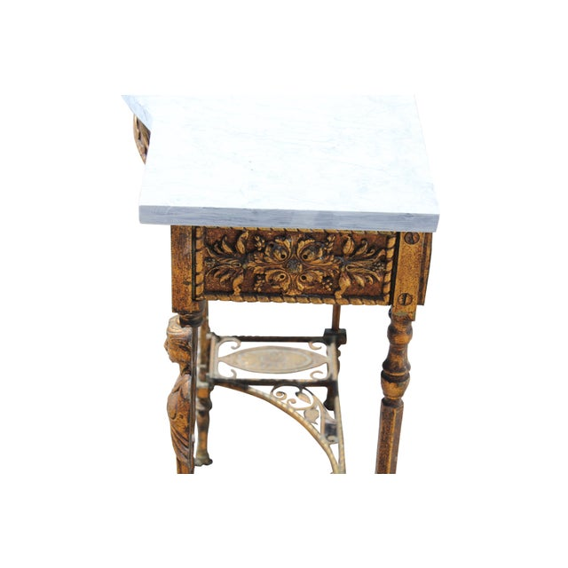 Gold 1920s Art Deco Marble Top Iron Table For Sale - Image 8 of 11