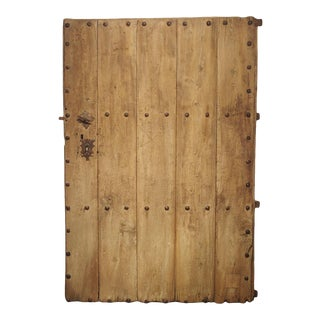 Large 18th Century Oak Plank Spanish Door With Wrought Iron Nailheads For Sale