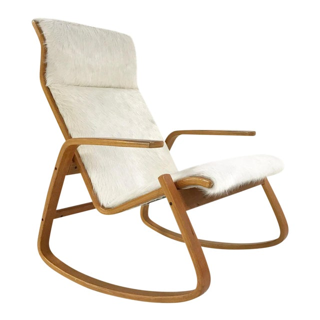 Forsyth One of a Kind Westnofa Of Norway Rocking Chair In Ivory Brazilian Cowhide For Sale