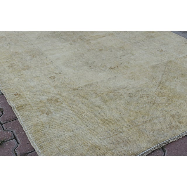 Distressed Turkish Handmade Vintage Beige Rug -3′8″ × 6′1″ - Image 7 of 8