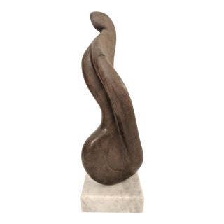 Sami B., Abstract Soapstone Sculpture, on a Marble Base, 1970's For Sale